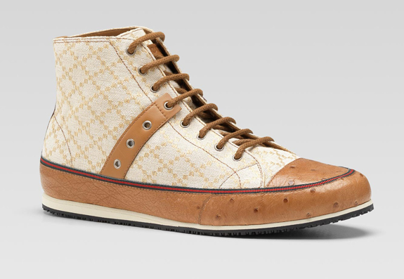 Gucci hi-top lace-up sneaker signature web