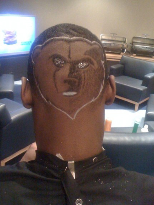 Tony Allen Memphis Grizzles' logo Haircut