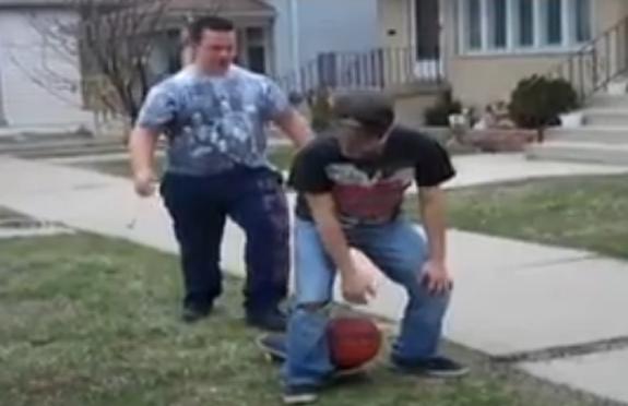 two guys skateboard basketball