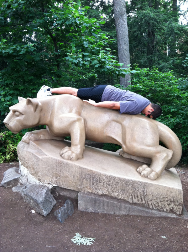 Penn State Football Player Planking