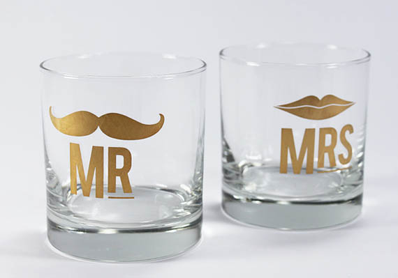 Mr. and Mrs Cocktail Glass Set