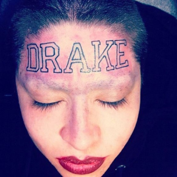 Drake Tattoo Girl Forehead