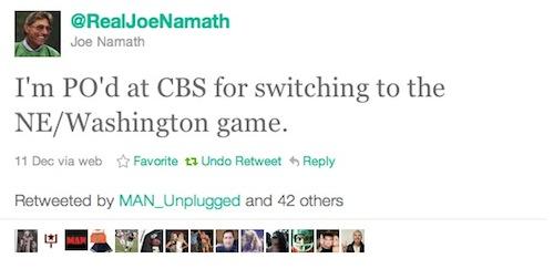 Joe Namath Twitter