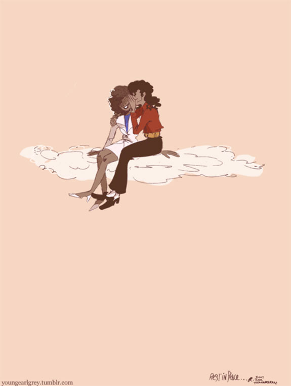 Whitney Houston Michael Jackson RIP Heaven Illustration