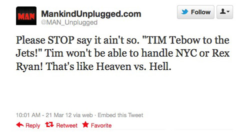 Tim Tebow NY Jets Twitter Tweet