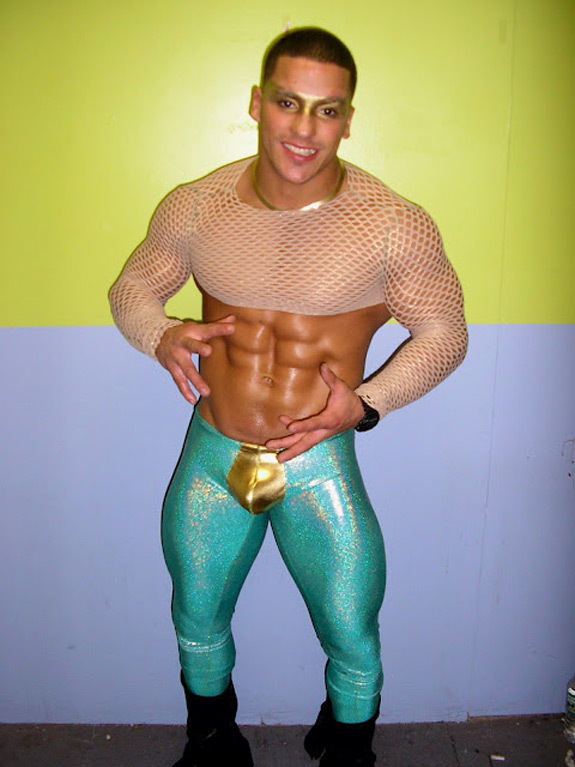 Funny Photo Midget Body Builder Tights Gold Penis