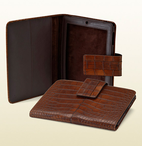 Gucci IPad 2 Cover Dark Brown Crocodile Leather