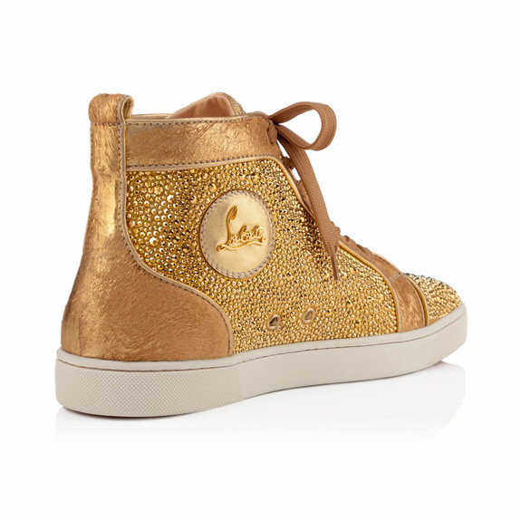 Christian Louboutin Gold Louis Strass Men Flat Sneakers