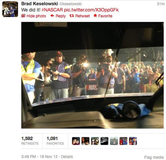 Brad Keselowski NASCAR Sprint Cup Champion Tweet Twitter
