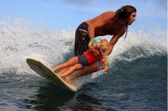 Photoshopped Father Son Surfing