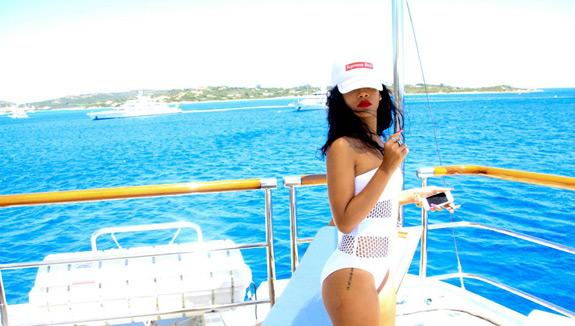 Rihanna Supreme Bitch Yacht Vacation