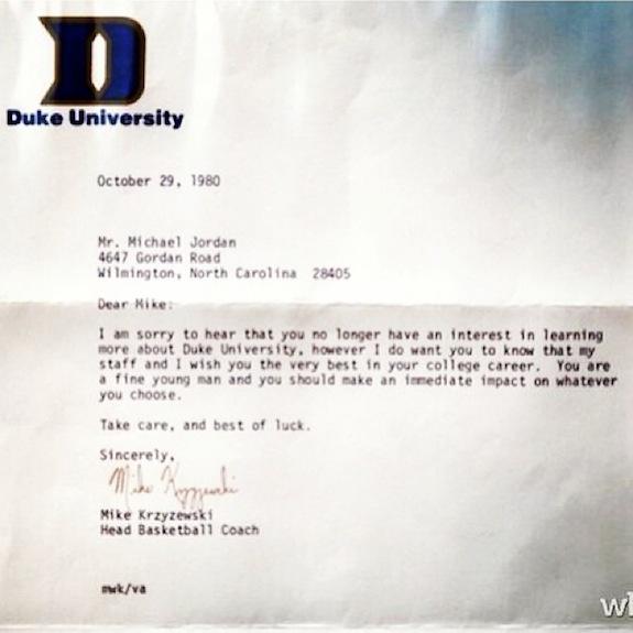 Coach K Letter Michael Jordan Duke