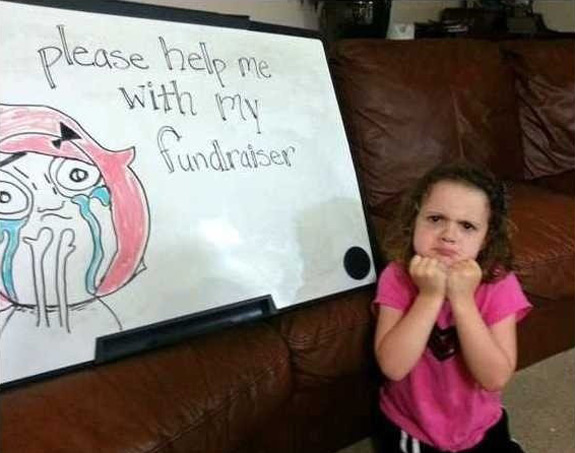 Help Me Fundraise Funny Photo Caption