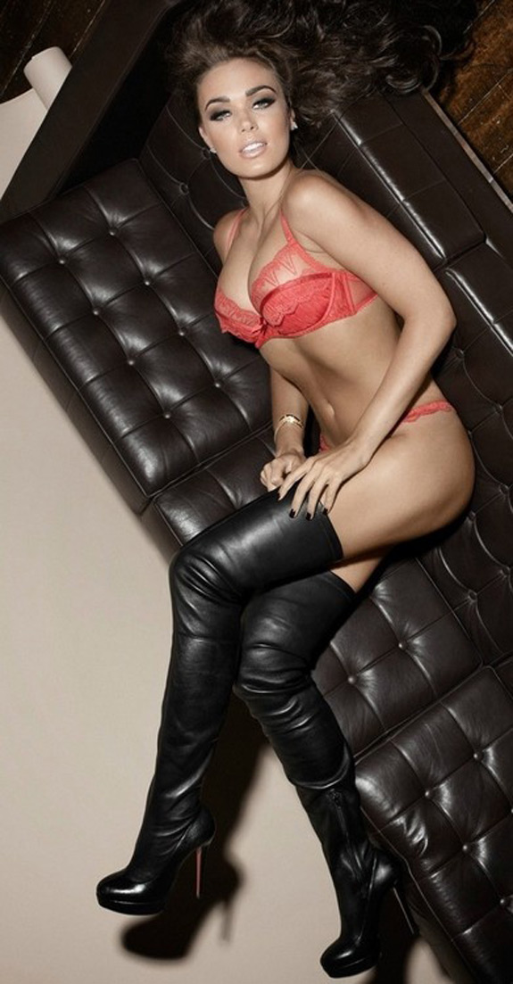 Sexy Photo Thigh High Boots Leather Couch