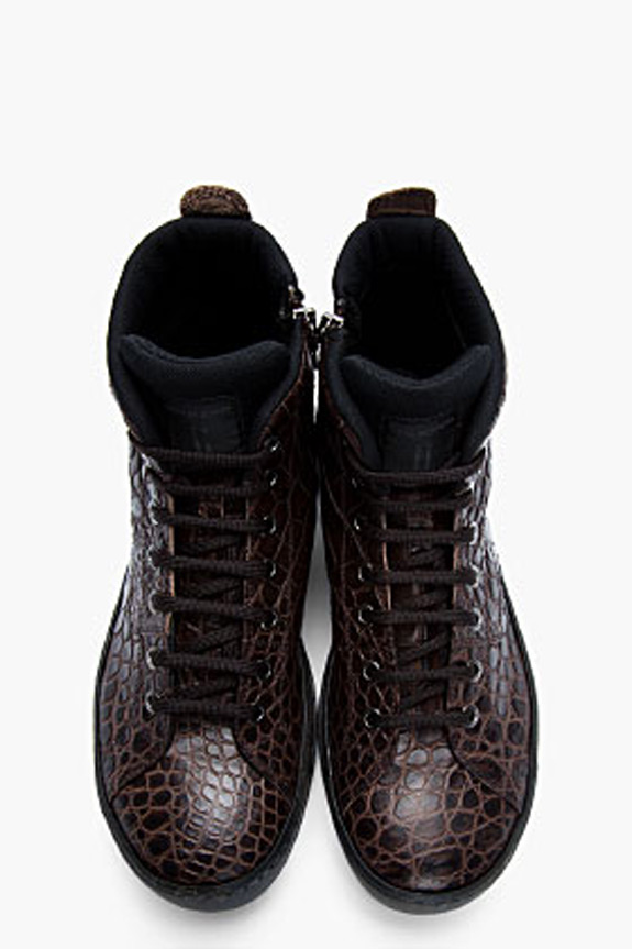 Neil Barrett Reptile Embossed Sandhurst Sneakers