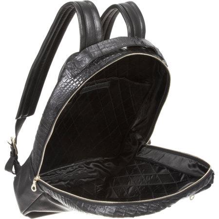 En Noir Croc Embossed Backpack