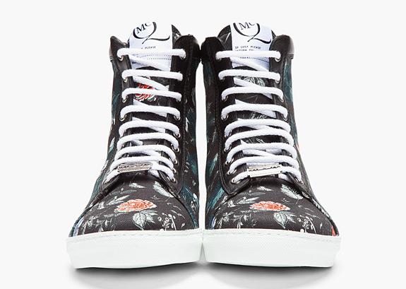 McQ Alexander McQueen Black Checkerboard Floral Sneakers