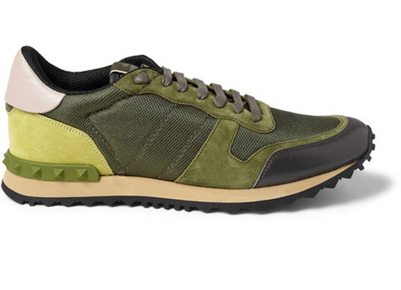 Valentino Green Suede Mesh Sneakers