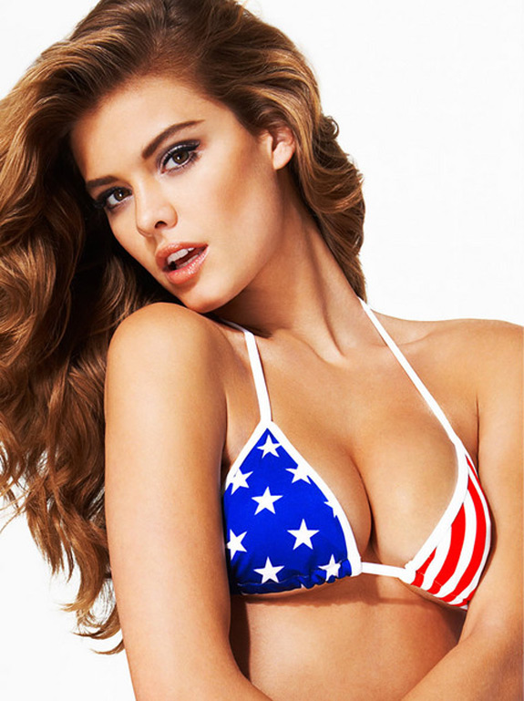 Nina Agdal Galore Magazine American Patriotic Color
