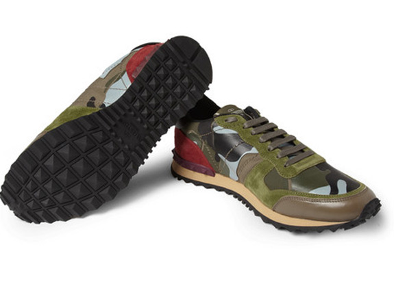 VALENTINO Camouflage Print Leather Suede Sneakers 5