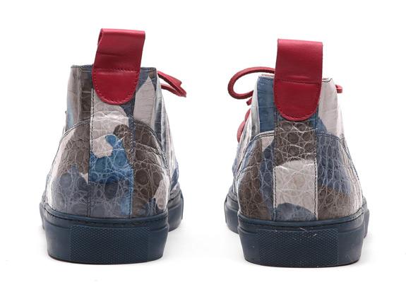 Blue Del Toro Camo Genuine Crocodile Alto Chukka Sneaker