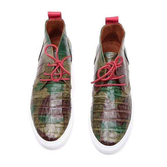 Green Del Toro Camo Genuine Crocodile Alto Chukka Sneaker 4