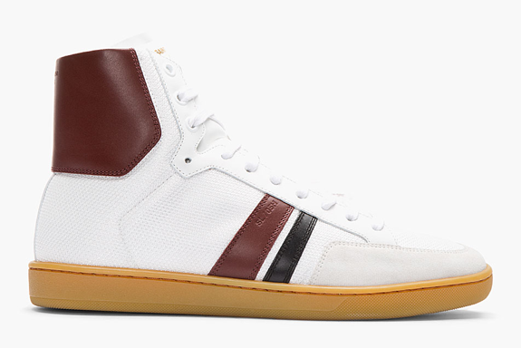 Saint Laurent Burgundy Classic Leather Trimmed High Top Sneakers