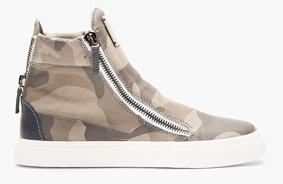 Giuseppe Grey Leather Camo High Top Sneakers