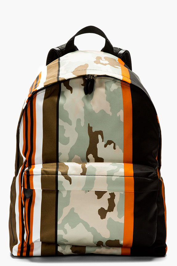 Givenchy Mint Orange Printed Camo Backpack