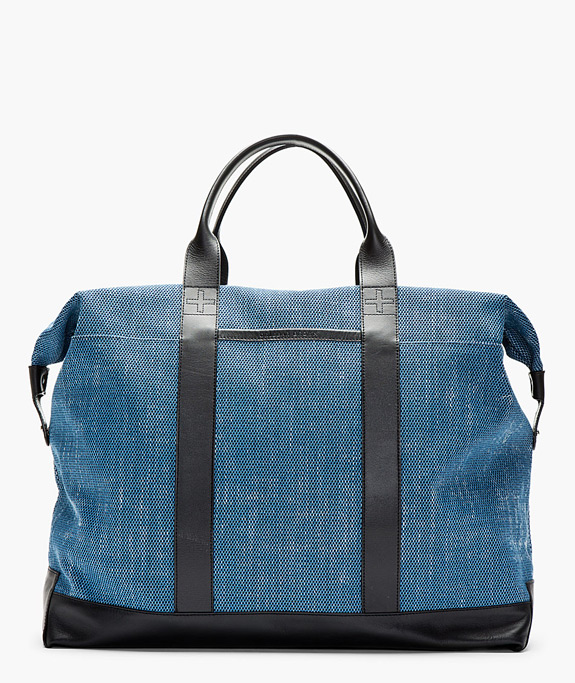 Orlebar Brown Blue Leather Trimmed Taylor Tote Bag