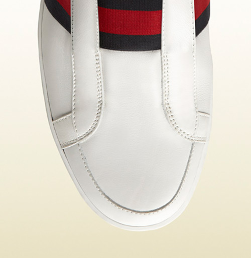 Gucci White Leather Slip On Sneaker