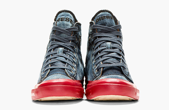 Blue Denim Contrast Sole Exposure High Top Sneakers