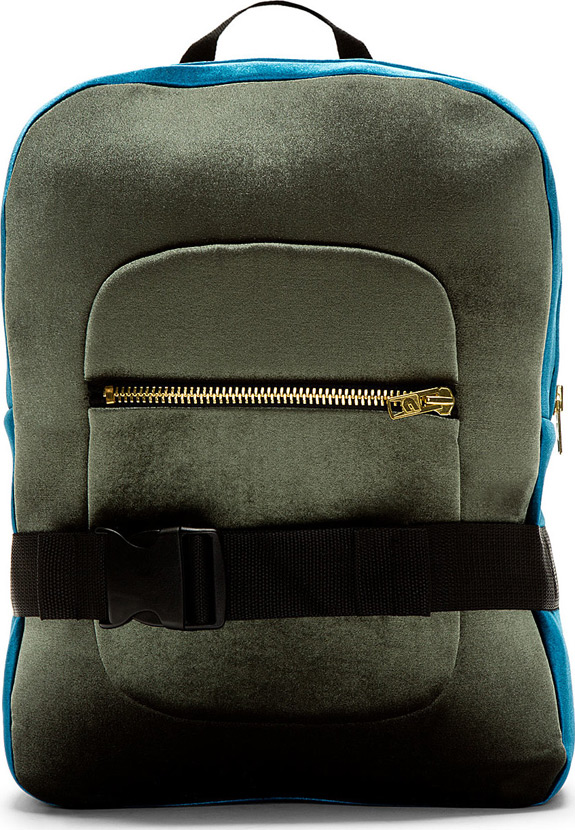 Denis Gagnon Green Blue Velour Backpack