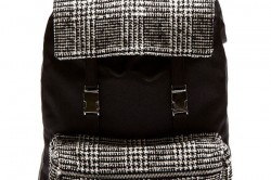 Ami Black Wool Tweed Panel Backpack