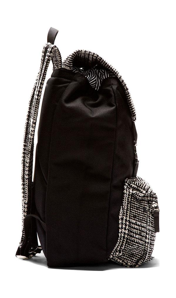 Ami Black Wool Tweed Panel Backpack