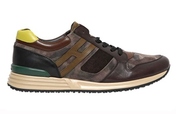 Hogan Rebel Camouflage Suede Leather Running Sneakers