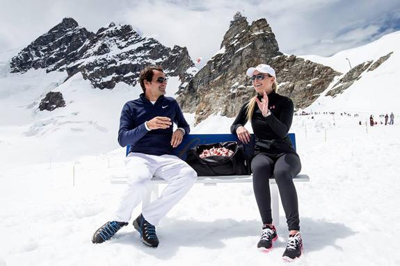 Roger Federer Lindsay Vonn Lindt Chocolate Heaven Aletsch Glacier