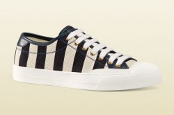 Gucci Stripped Canvas Low Top Sneakers
