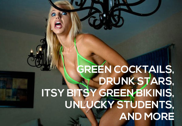 Itsy Bitsy Green Bikini Drinks St Patricks Day