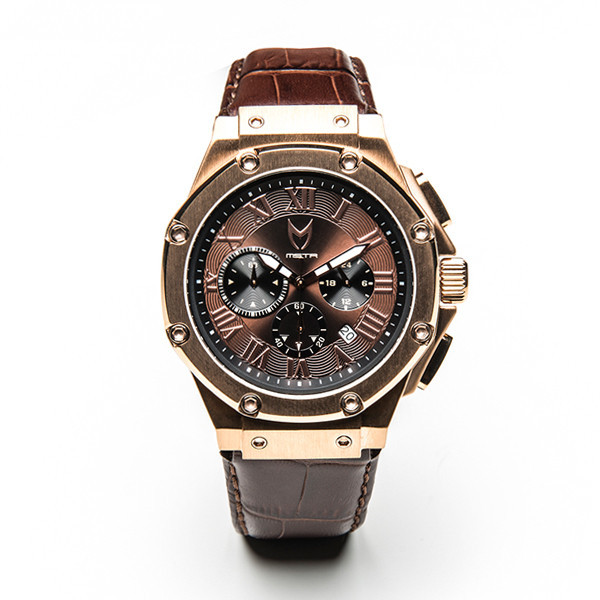 Meister Ambassador Rose Gold Brown Croc Leather