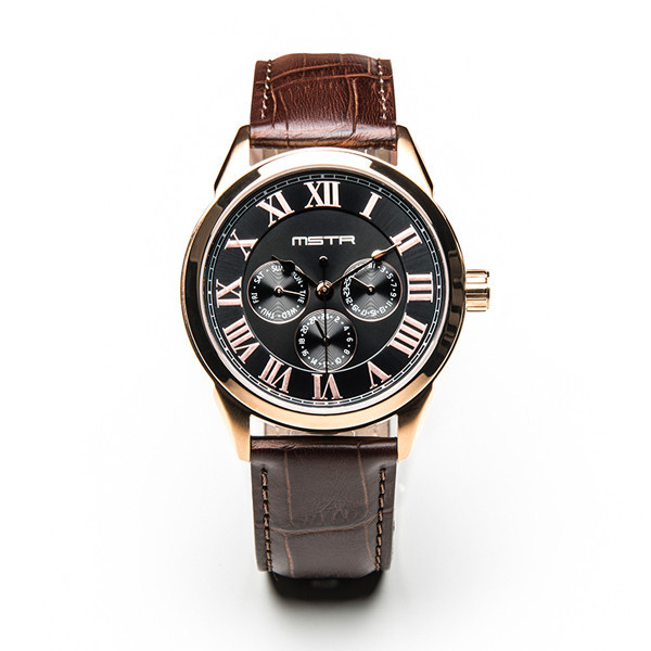 Meister Clasic Rose Gold Black Brown Croc Band