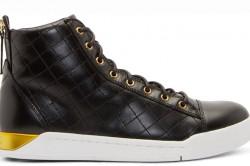 Diesel Black Leather Diamond Sneakers