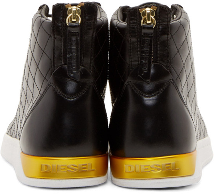 Diesel Black Leather Diamond Sneakers