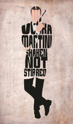 James Bond, Sean Connery Poster - Minimalist Typography Poster
