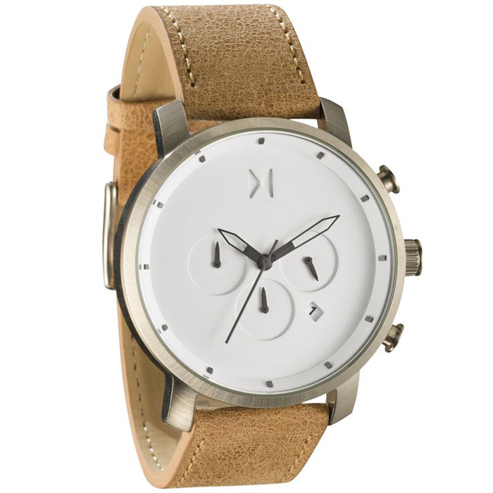 MVMT Chrono White Carmel Leather Watch