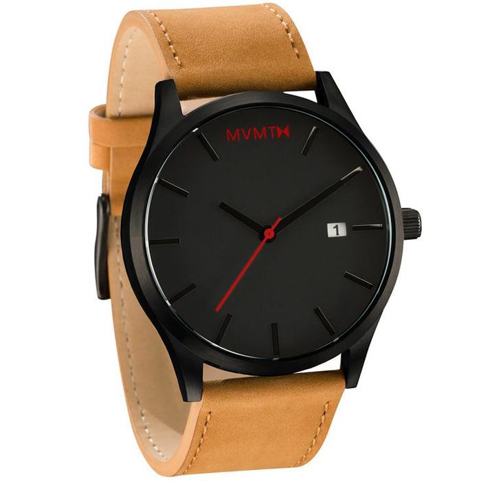 MVMT Classic Black Tan Leather Watch