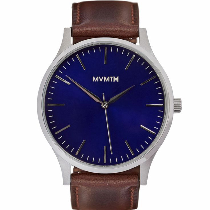 MVMT The 40 Blue Brown Leather Watch