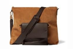 Loewe Leather Trimmed Suede Messenger Bag
