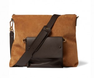 Loewe Leather Trimmed Suede Messenger Bag