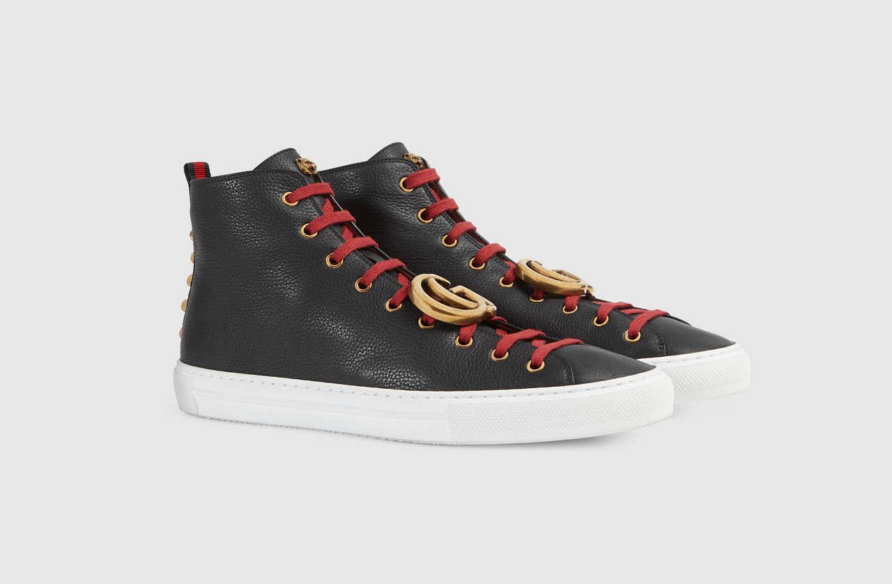 Light Leather High Top Sneaker With GG 2